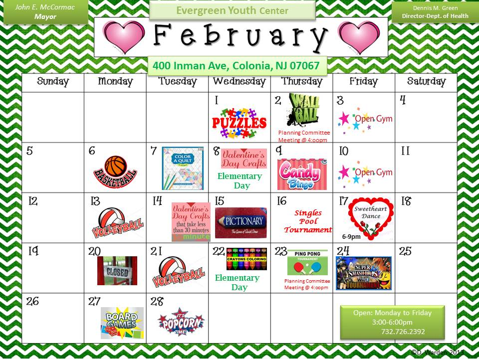Evergreen Youth Center February 2017 Calendar