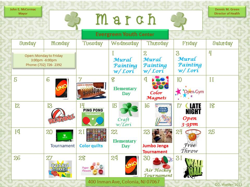 Evergreen Youth Center March 2017 Calendar
