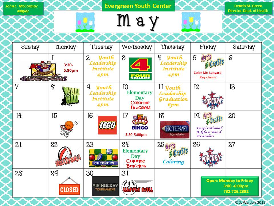 Evergreen Youth Center May 2017 Calendar