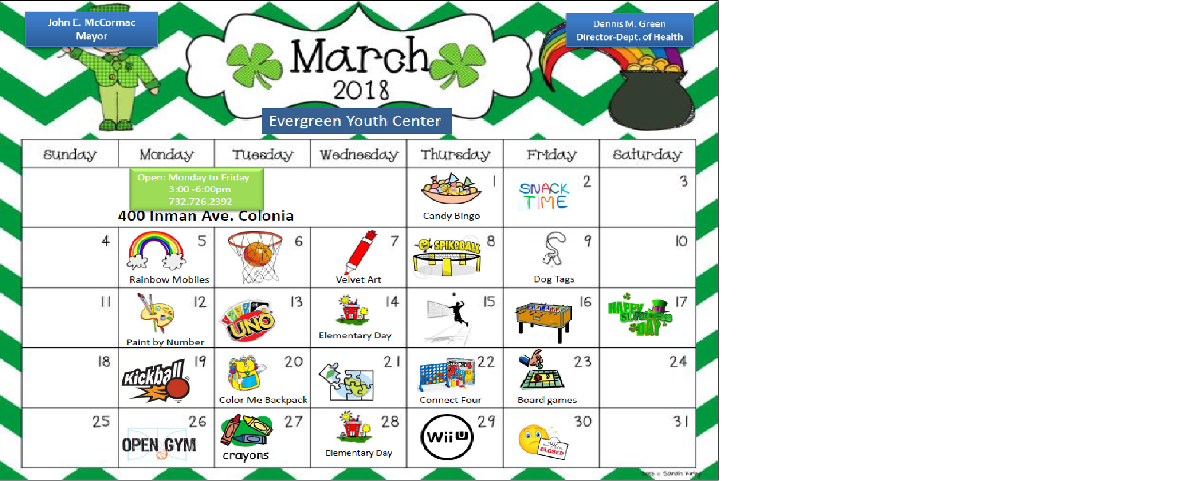 March 2018 youth center calendar pic