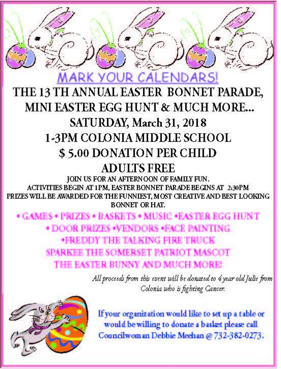 Colonia Easter Bonnet Parade - 3-31-18