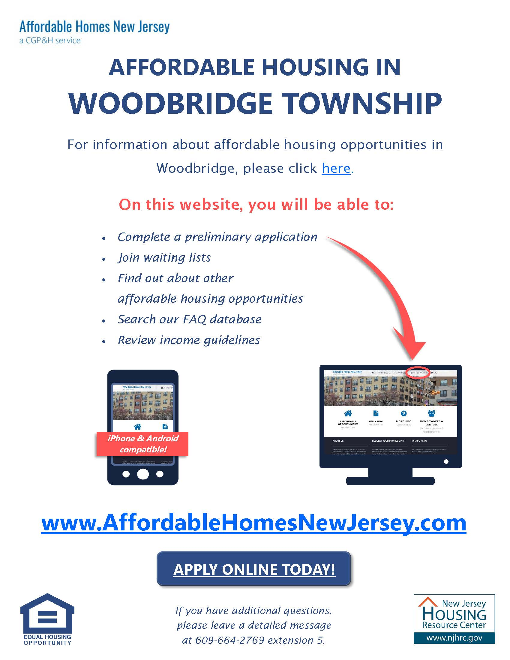 Woodbridge affordable housing website flyer