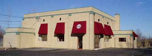 Animal Shelter Outside View with maroon awnings